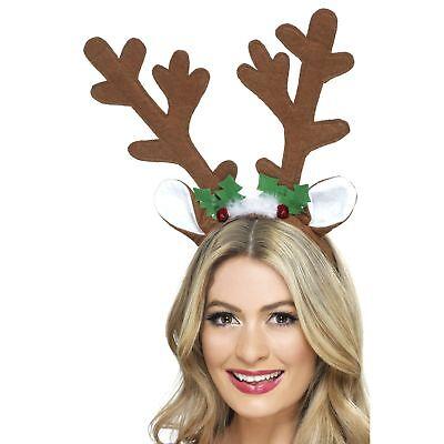 Reindeer Antlers Brown Christmas Headband Womens Ladies Fancy Dress Accessory