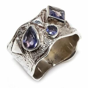 Amethyst-Natural-Gemstone-Handmade-925-Sterling-Silver-Ring-Size-8-R-88