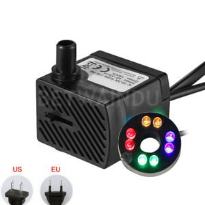 5w Aquarium Water Pump 220v /110v With 8 Led Lights Eu/us Plug Flow Adjustable Cleaning The Oral Cavity. Pumps (water)