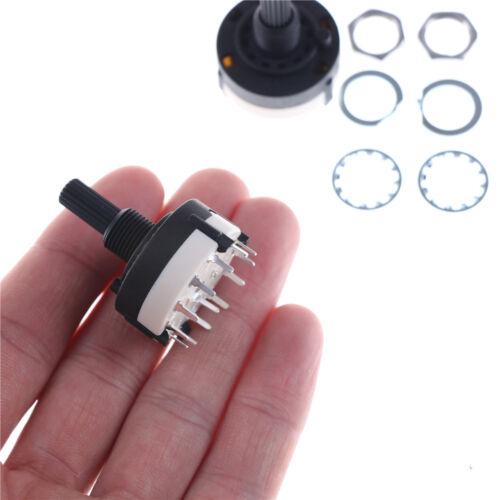 2x 1Pole 12Position Panel PCB Verdrahtung Drehschalter 18Zähne Welle Einste HK