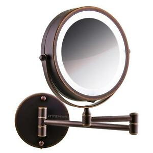 Ovente 7 Wall Mounted Led Lighted Magnifying Makeup Mirror Battery