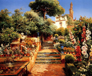 Image Is Loading A FLOWER GARDEN SPANISH PAINTING BY MANUEL GARCIA