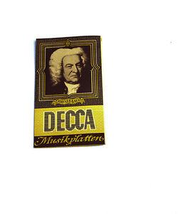 100% Wahr Schallplatten Parade Decca Platten Nummern Katalog Klassik Nr Weich Und Leicht k103 1