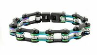 Women's Stainless Steel Black Rainbow Bling Bike Chain Bracelet Usa Seller