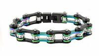 Women's Stainless Steel Black Rainbow Bling Bike Chain Bracelet Usa Seller
