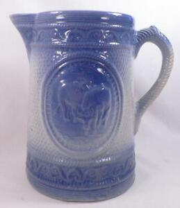 Antique-Salt-Glaze-Pitcher-Cows-Blue-amp-White-Stoneware-Country-Primitive