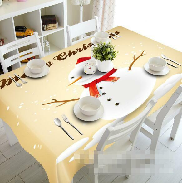 3D Cute Snowman 3 Tablecloth Table Cover Cloth Birthday Party Event AJ WALLPAPER