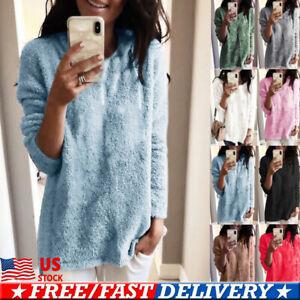 Women-Ladies-Plush-Pullover-Loose-Sweater-Long-Sleeve-Jumper-Tops-Tunic-Coat-US
