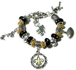 Details About Nfl New Orleans Saints Handmade Football Charm Bracelet 6 3 4 Adjule