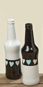 1x-Dekovase-Varel-H22cm-Vase-Blumenvase-Flasche-Flaschenvase-Shabby-Black-White