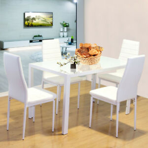 Details About Modern Glass Dining Table Set And 4 White Chairs Faux Leather Metal Legs Kitchen