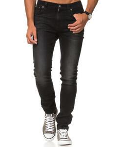 Nudie-Herren-Slim-Tapered-Fit-Roehren-Stretch-Jeans-Hose-Lean-Dean-Ink-Crush