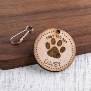Personalised-Engraved-Wooden-Pet-ID-Collar-Tags-Cat-Dog-35mm-Paw-Print