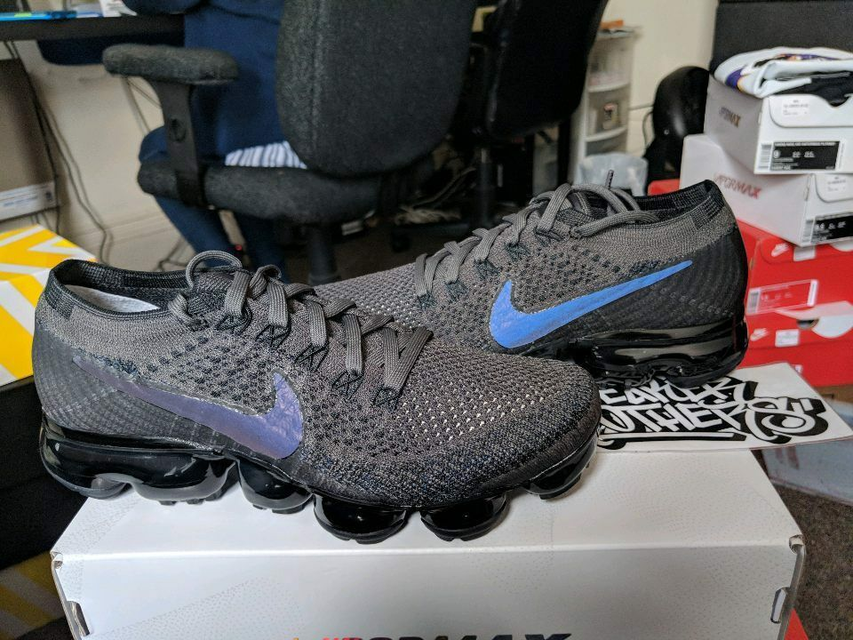 Nike WMNS Vapormax Flyknit Midnight Fog Multi-Color Black 3M Rainbow 849557-009