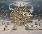 Folk Art Halloween Haunted Snow House Ghosts Cats Skeleton Witch Byrum PRINT
