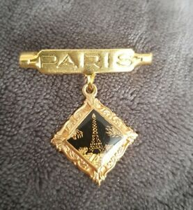Paris-brooch-pin-goldtone-black-enamel-scene