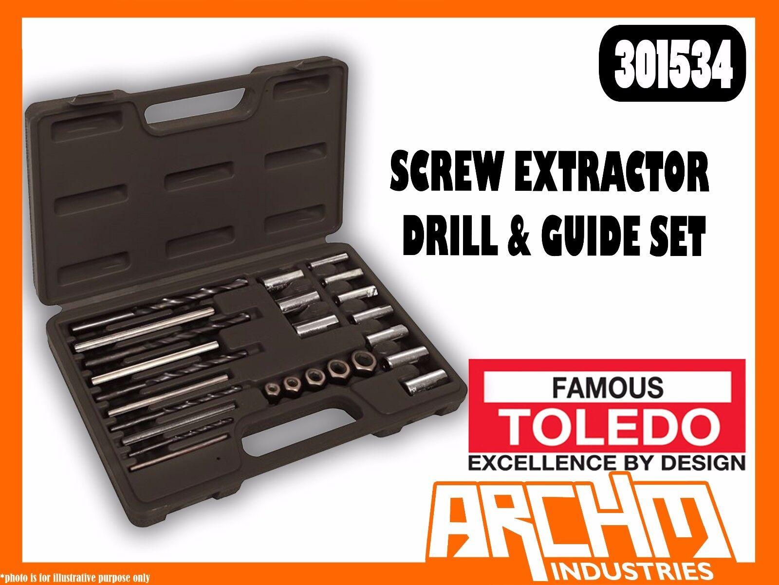TOLEDO 301534 - SCREW EXTRACTOR DRILL & GUIDE SET - BROKEN STUBBORN STUDS SCREWS