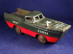 Ancien-jouet-militaire-vehicule-amphibie-camion-bateau-ARMY-tole-K-JAPAN-1950