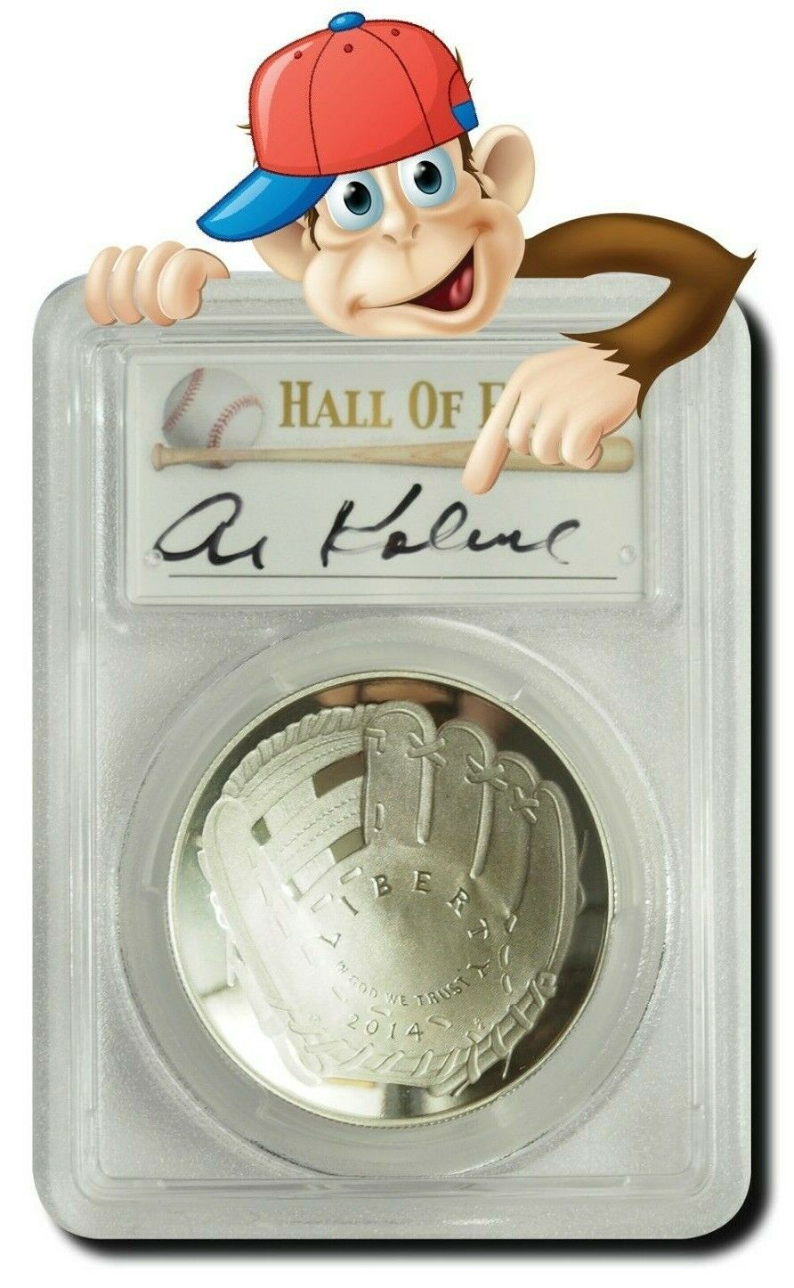 PCGS MS70 2014-P Baseball HOF Silver $1 Hand Signed By Al Kaline