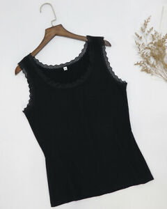 Women-039-s-O-Neck-Tank-Top-Ladies-Lace-Trim-Soft-Cotton-Stretch-Sleeveless-Vest-Tee