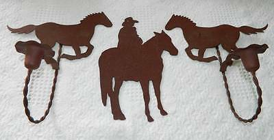 3 Piece Western Cowboy Rodeo Wild West Rustic Metal Wall Decor Cabin Lodge