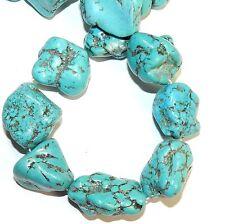 "NG2969F Blue Turquoise X-Large 30-38mm Nugget Magnesite Gemstone Beads 15"""