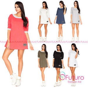 Womens Everyday Mini Dress With Pockets 3//4 Sleeve Shift Tunic Size 8-12 FT1872