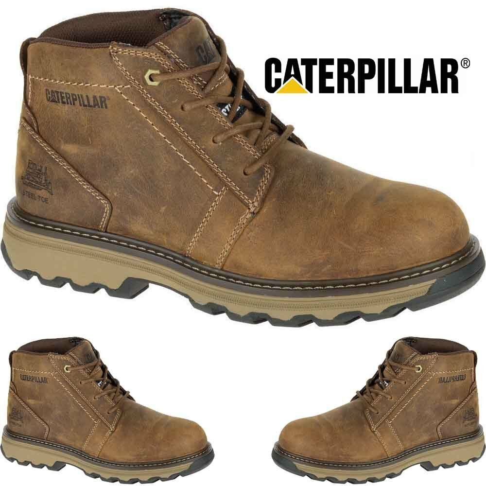 MENS CATERPILLAR CAT LIGHTWEIGHT LEATHER ANKLE SAFETY STEEL TOE WORK BOOTS SIZE