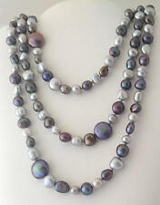 HONORA pearl necklace peacock, plum, silver hues with 5 coin pearls 60 inch