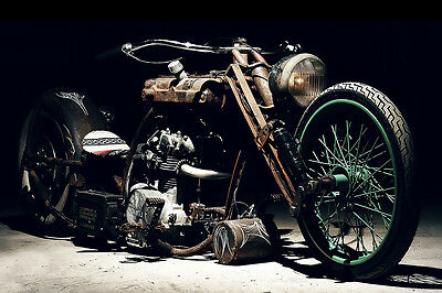 VINTAGE YAMAHA CUSTOM  CHOPPER MOTORCYCLE ART 30 X 20 LARGE POSTER DIGITAL PRINT