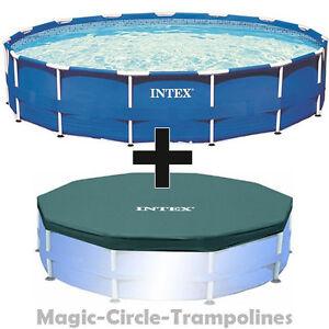 intex metal frame swimming pool schwimmbecken schwimmbad 366 cm mit abdeckplane ebay. Black Bedroom Furniture Sets. Home Design Ideas