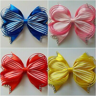 6 inch Large Hair Bow rainbow Bows Dance Moms girls hair clips accessories