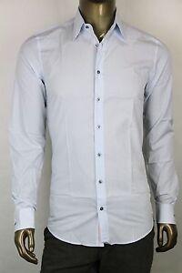 New-Gucci-Mens-Light-Blue-Striped-Classic-Fit-Dress-Shirt-353361-4866