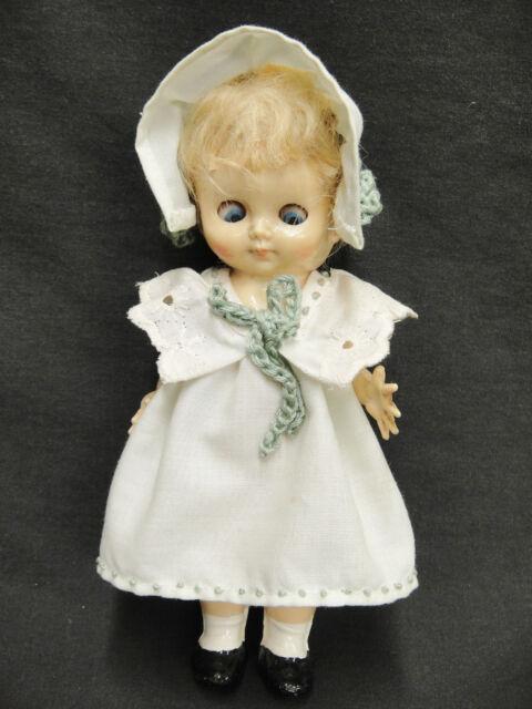 """Vintage Pedigree Hard Plastic Doll Made in England 7"""" Original Dress & Bonnet"""