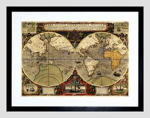 Map antique hemisphere globe worlds black framed art print picture image is loading map antique hemisphere globe worlds black framed art gumiabroncs Image collections