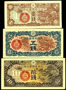 China-Japan-Occupation-1940-gt-1-5-10-Sen-Military-Notes-set-of-3-VF