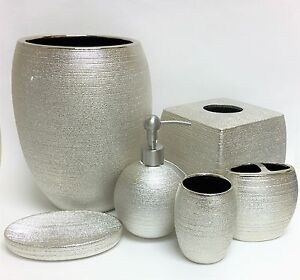 Image is loading 6 PC SET CARO METALLIC CHAMPAIGN SILVER SOAP  DISPENSER TRASH CAN