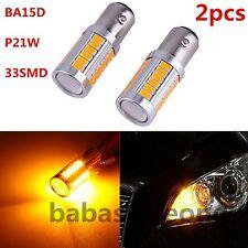 2X Yellow BA15D P21W 1157 33SMD 5630 12V LED Car Reverse Backup Lamp Bulb F5