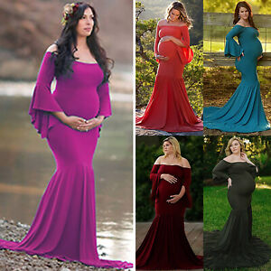 2b4fb9ec0b4ca Image is loading Pregnant-Womens-Long-Maxi-Dresses-Maternity-Prom-Fishtail-