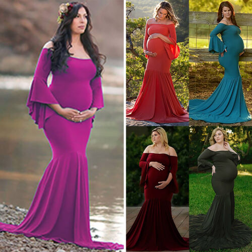 Pregnant Maternity Photography Prop Maternity Long Shirr Dress Fancy Photo Shoot