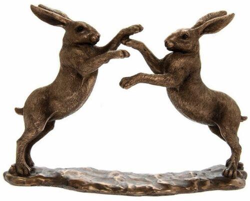 Double Boxe lièvres bronze effet Ornement Figurine LEONARDO COLLECTION Coffret Cadeau