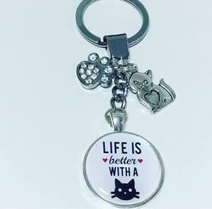 Life is Better Keyring Cat