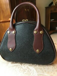 315f55c7f72 Image is loading MULBERRY-SCOTCHGRAIN-amp-LEATHER-BLACK-HAND-BAG-BOWLING-