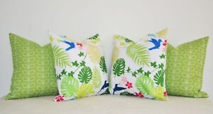 WATERPROOF-INDOOR-OUTDOOR-Throw-Pillows-18-034-Tropical-Leaves-birds-Nature-Cushion