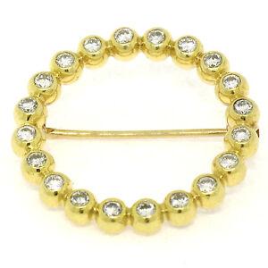 18ct-Oro-Amarillo-60ctw-20-Engastados-Diamante-Redondo-CIRCLE-OF-LIFE-Broche