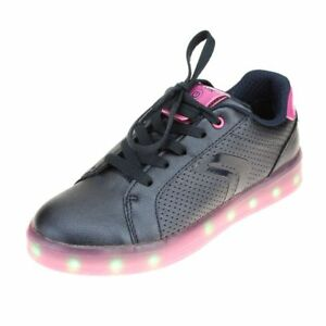 beste Seite Sonderangebot herren Details about Geox Kommodor Girls Navy-Fuchsia Rechargeable Lights Shoe