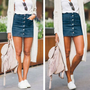 be4d2854c7 Women Button Denim Jean Skirt High Waist Bodycon Slim Pencil Short ...