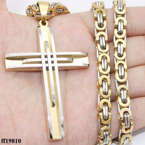 """Mens Stainless Steel Cross Pendant Necklace 18-36/"""" 6mm Flat Byzantine Chain"""