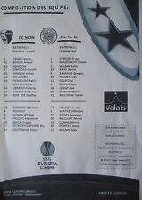 Aufstellung UEFA EL 2011/12 FC Sion - Celtic FC
