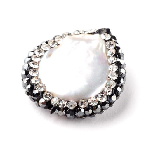6pcs pavé strass Natural Shell Perles Bumpy ovale Big loose Entretoises 19 ~ 24 MM